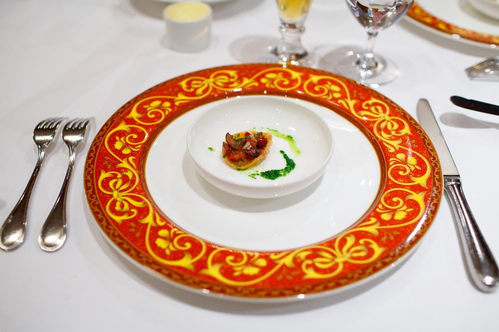 Amuse bouche: Smoked salmon and relish salad on a gyoza cracker