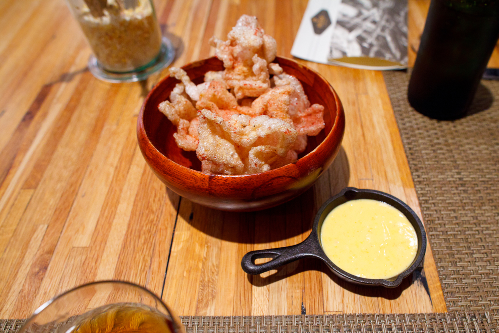 Amuse bouche_ Beef tendon _chicharrones_ (puffed beef tendon), beef jerkey powder, local hollandaise.jpg