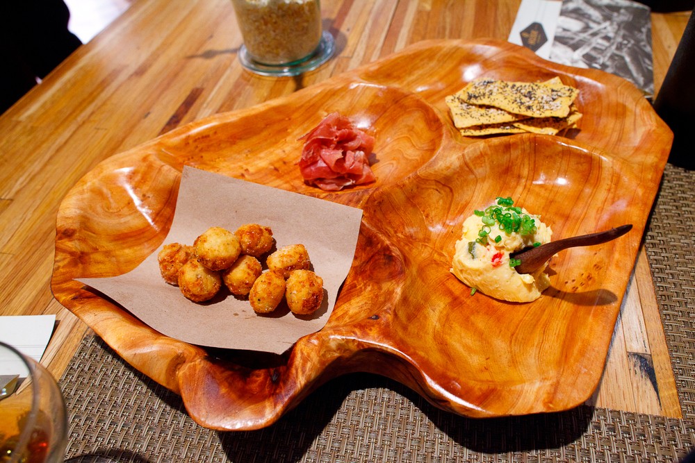 Snacks 1_ Benne crackers, house-made pimento with Tennessee cheddar, Allan Benton's country ham, country ham deep-fried biscuits.jpg