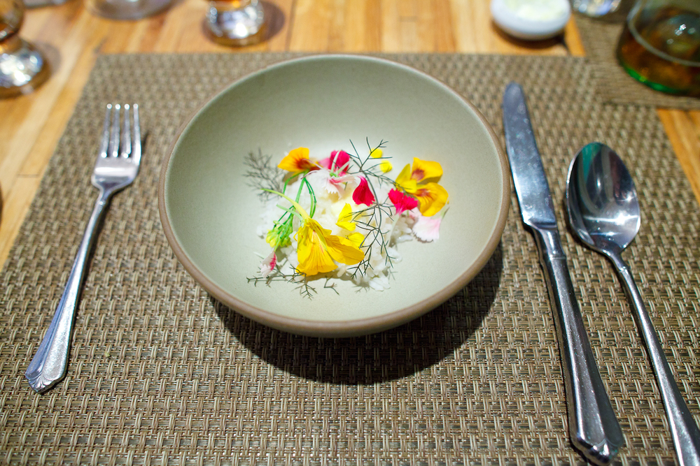 9th Course: Local rice with flowers