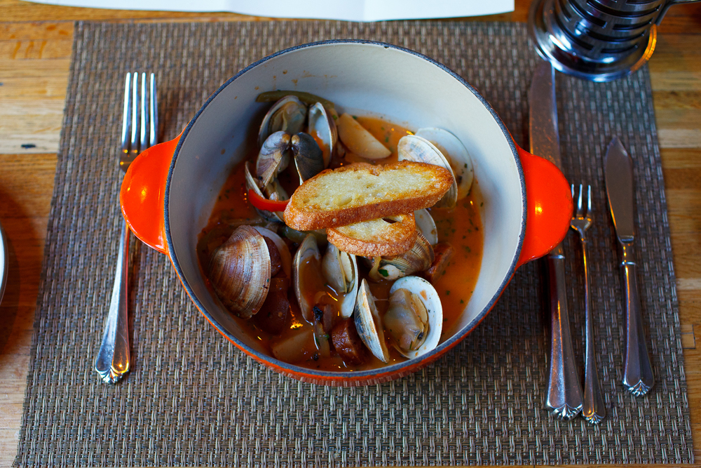 Dave's clams with peppers and onions, tomato broth, potatoes, and Surry sausage ($14)