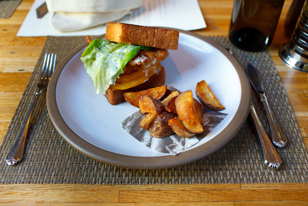 North Carolina catfish BLT, Broadbent bacon, herb mayonnaise, fried potato wedges ($11).jpg