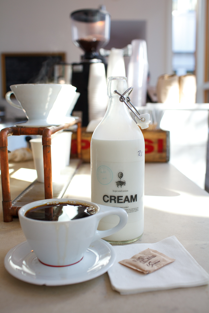 Pour over coffee and cream ($3.25)