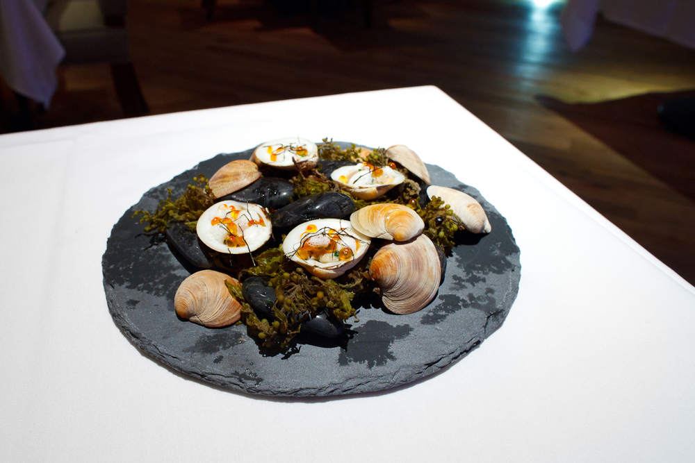 Snacks 4: Dave's clams, seaweed, fumet and smoked trout roe