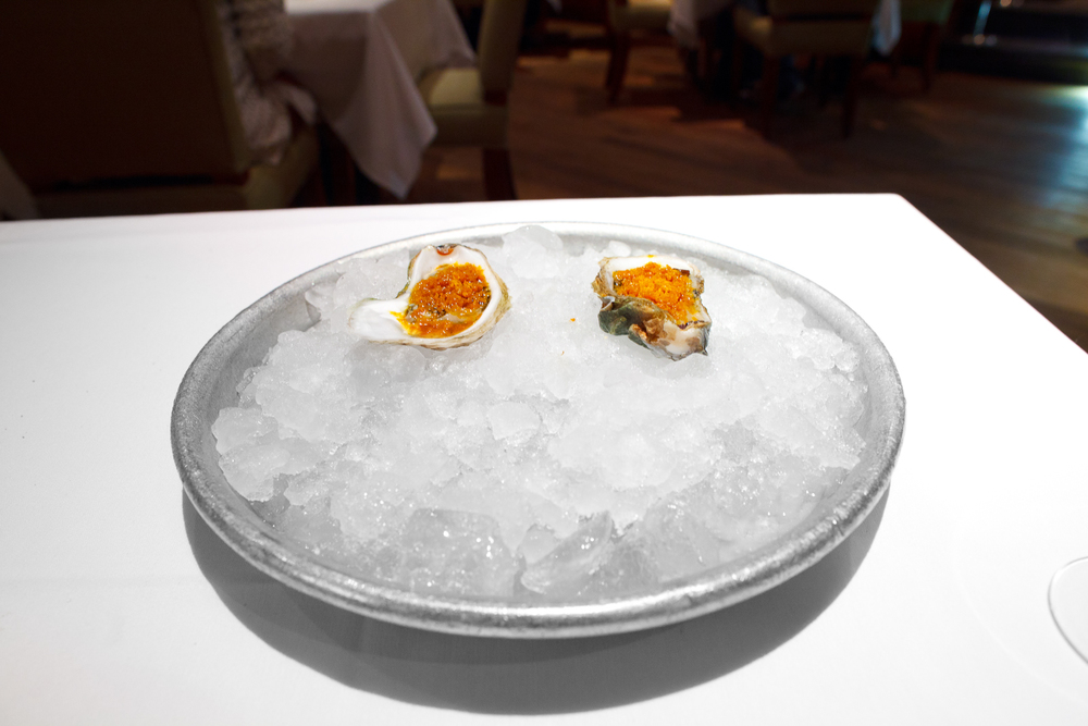 Snacks 7: Local oyster, ash oil and buckthorn ice