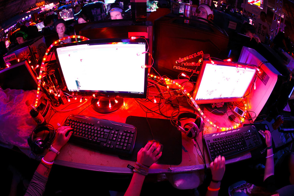 Computers piped with red lighting