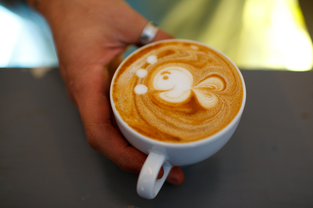 Cappuccino with a fish