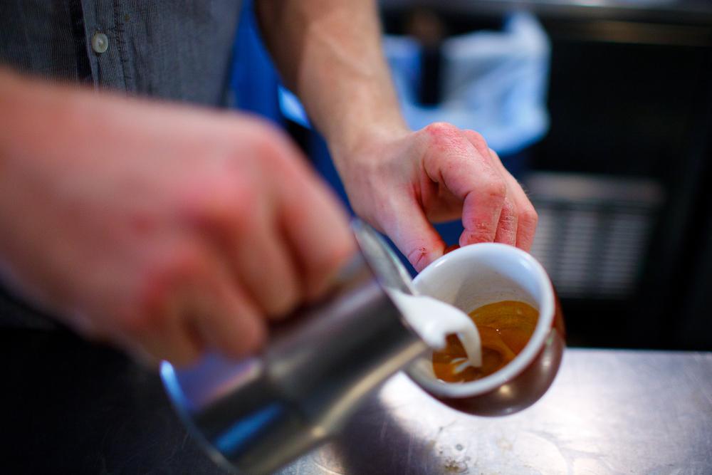 Pouring a macchiato