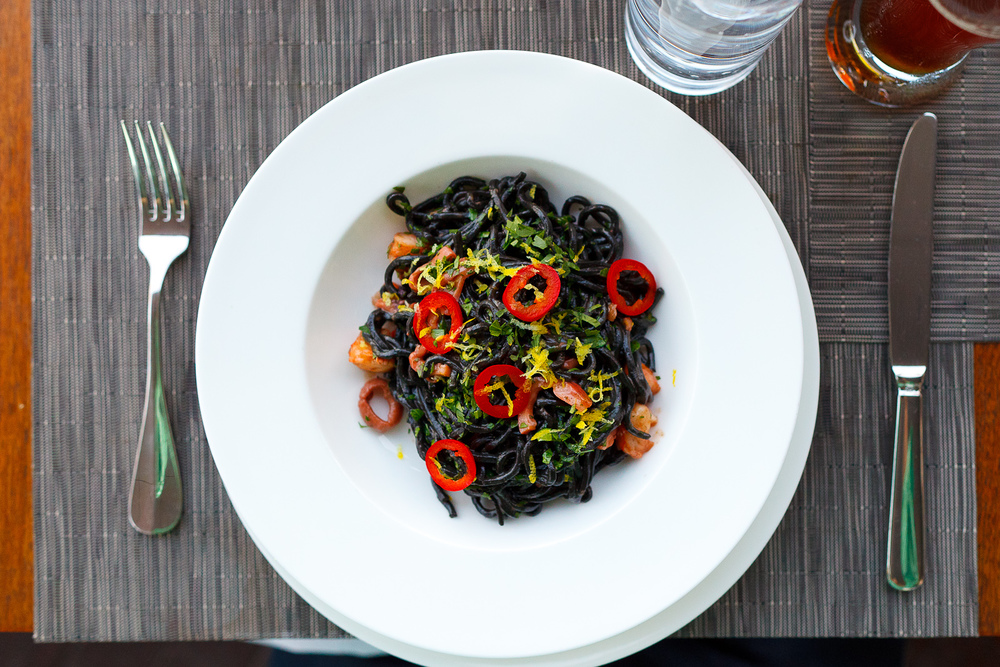 Squid ink chitarra, calamari, octopus, shrimp, lemon, Fresno chiles ($16)