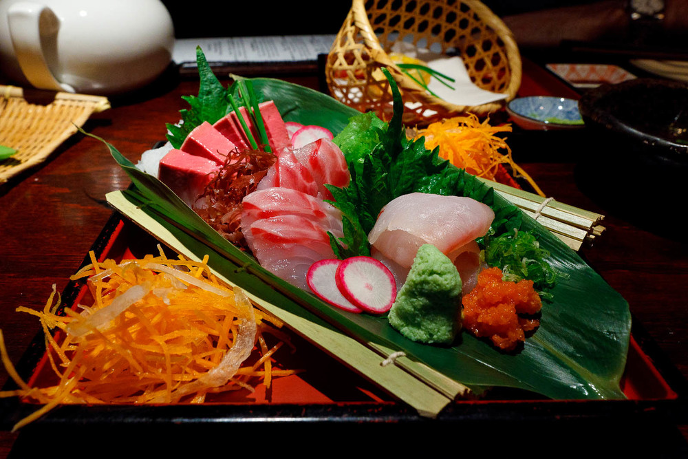 Red Jewel of the Day: Yellowtail, snapper, and fluke sashimi ($21)