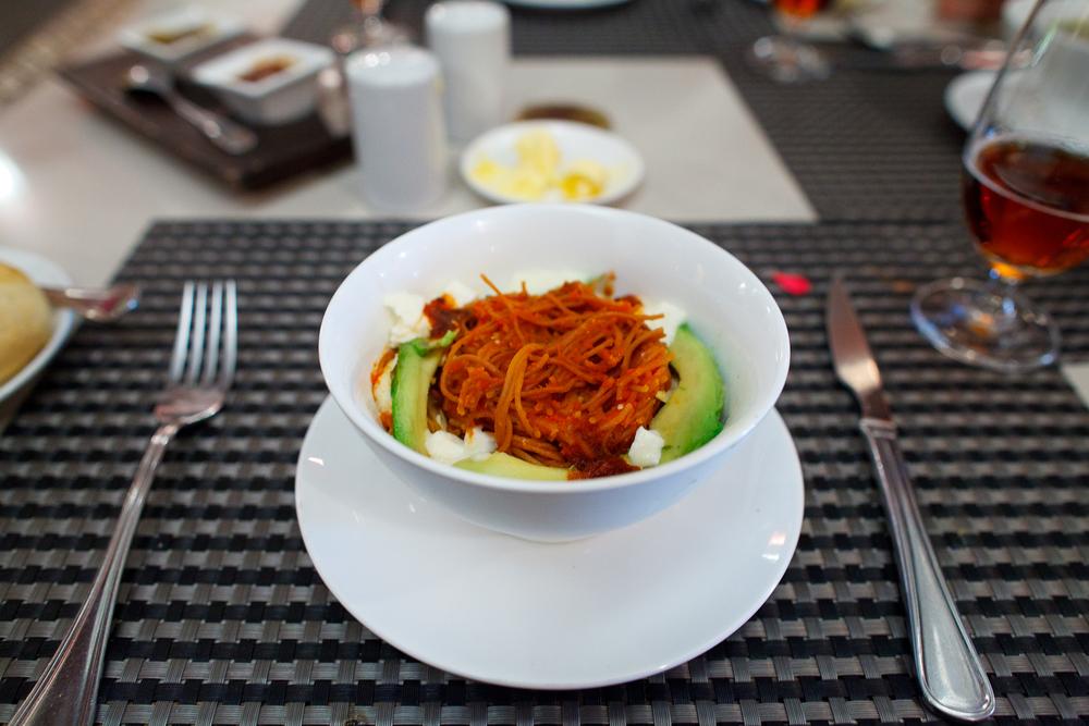 El fideo seco al chipotle, una delicia mexicana, especialidad de la casa (60 MXP)