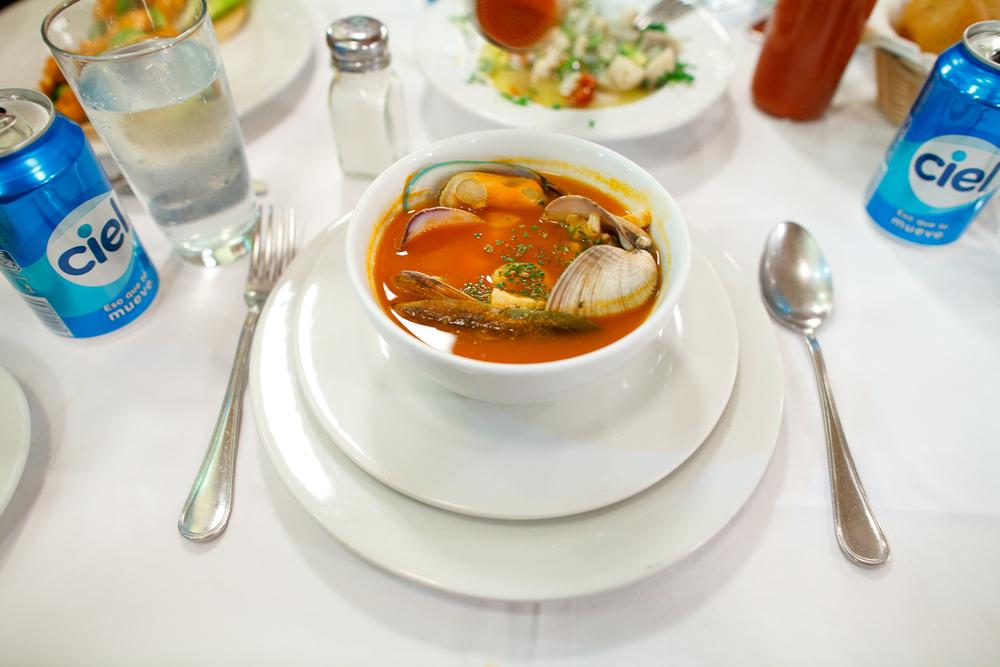 Sopa de mariscos (shellfish soup)