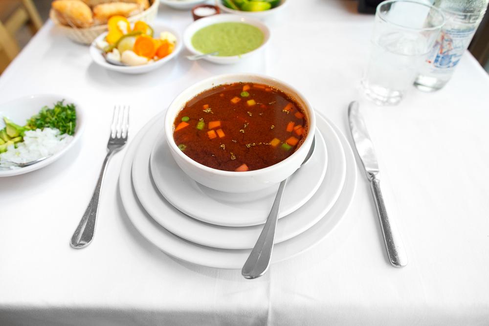Caldo de camarón (shrimp soup) (88 MXP)