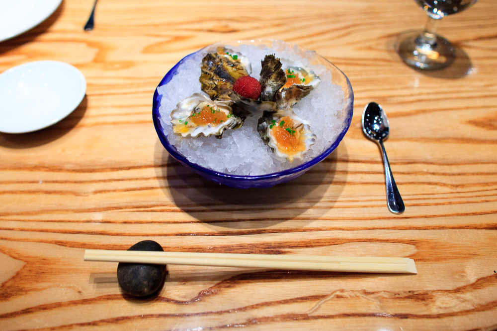 Ostiones con salsa Nobu (oysters with nobu sauces) (140 MXP)