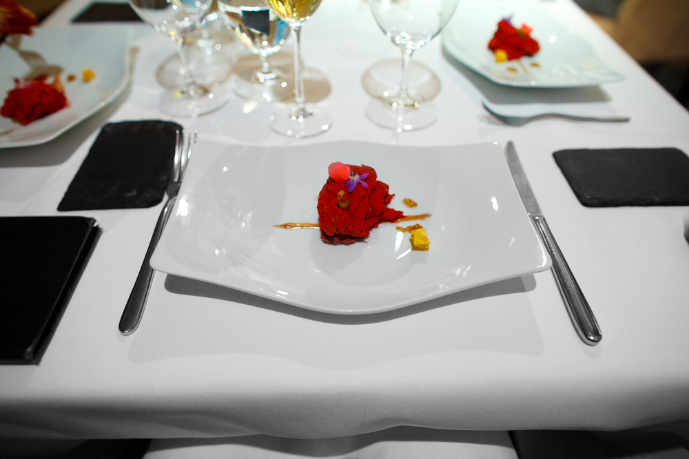1st Course: Foie del Colorado (fig bread filled with foie gras mousse, toasted oatmeal, red fruit and hibiscus powder)