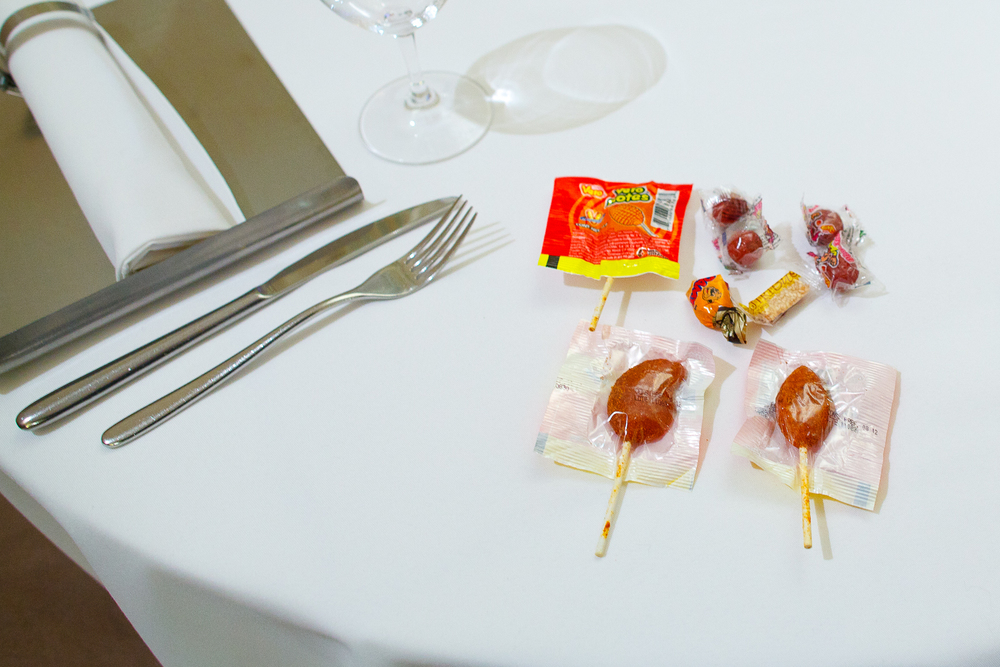 Take home snack: traditional Mexican candy - elote con chile, mango con chile, tamarindo