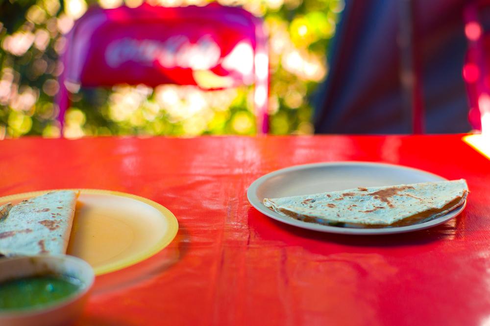 Quecas de flor de calabaza (zucchini blossom) y de huitlacoche (corn smut) (30 MXP)