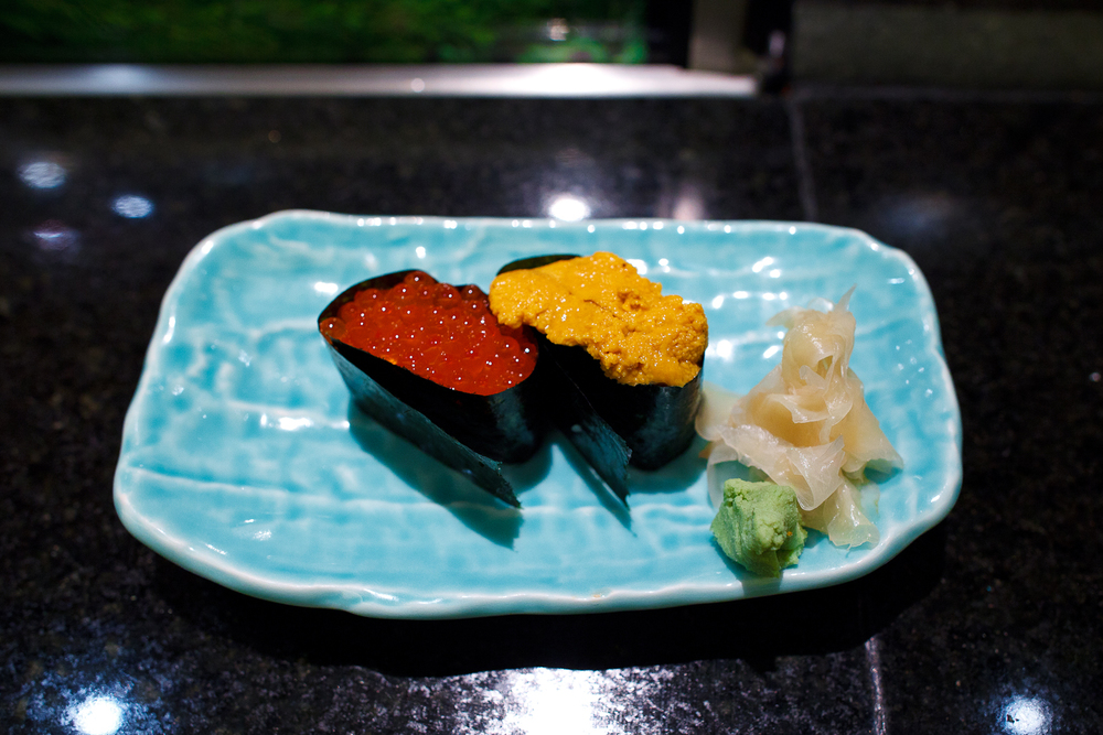 Salmon roe and sea urchin sushi