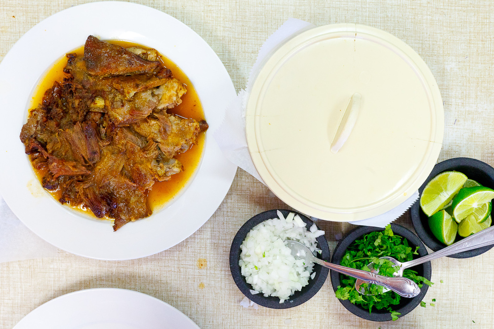 Bírria (goat stew) with accompaniments