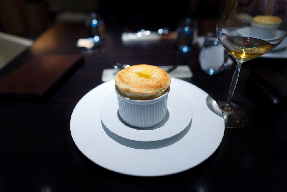 7th Course: Grand marnier soufflé, orange marmalade