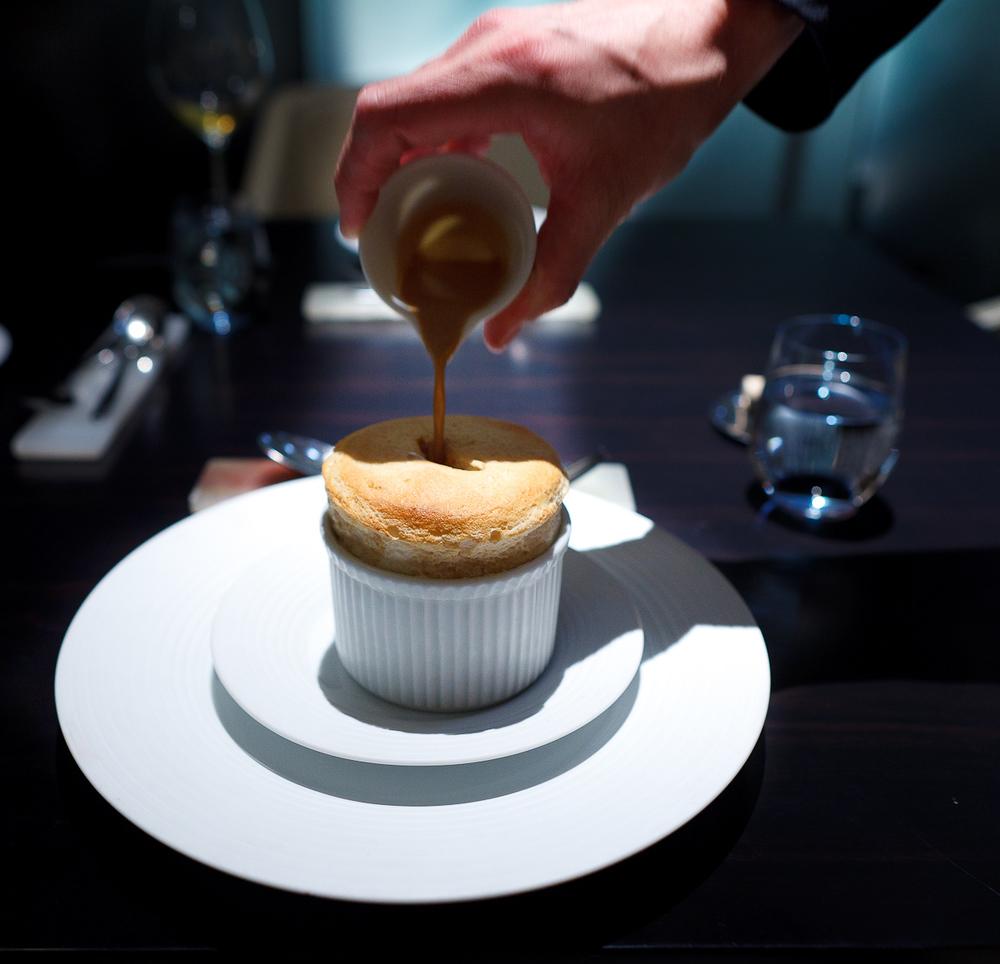 8th Course: Praline soufflé, hazelnut anglaise