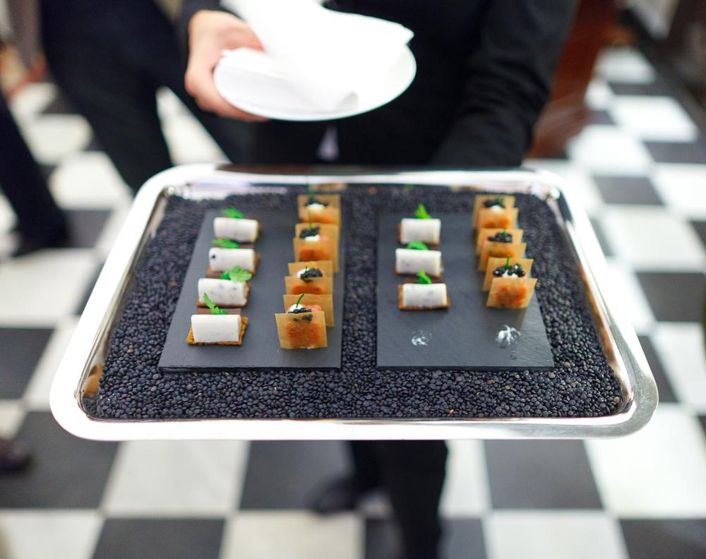 Amuse bouche: foie gras, lamb tartar with caviar
