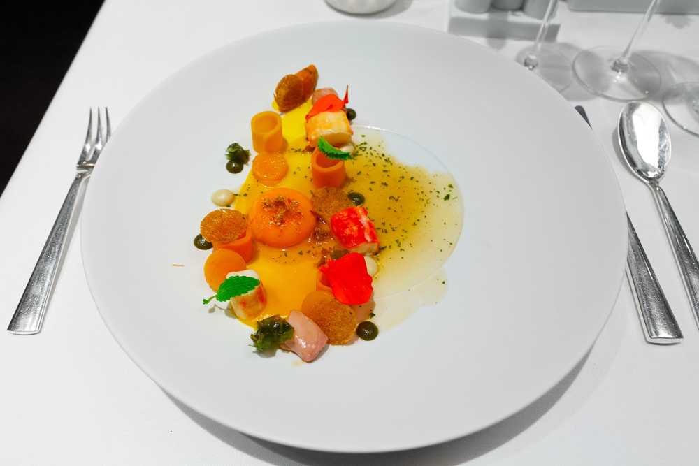 5th Course: King crab, smoked egg, pumpkin, sot l'y laisse, by Thomas Bühner