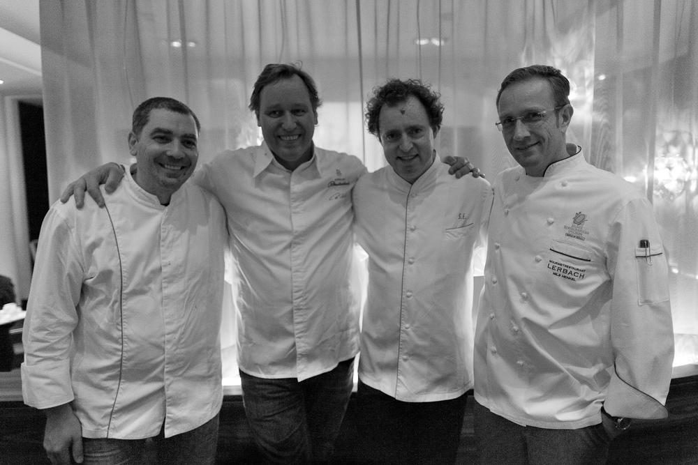 Chefs Christian Bau (Schloss Berg), Thomas Bühner (La Vie), Sven Elverfeld (Aqua), and Nils Henkel (Schlosshotel Lerbach)