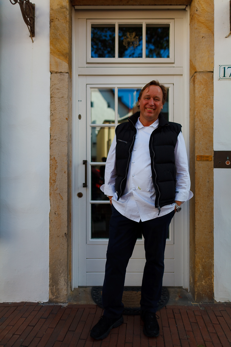 Chef Thomas Bühner in front of his home in Osnabrück, Lower Saxony