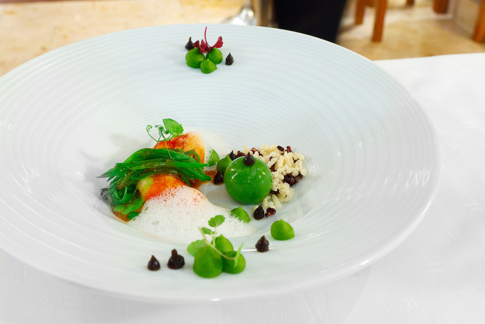 "5th Course: ""Red gamberoni"" - ""A la plancha,"" peas, hearty cream of kombu seaweed, jasmine rice broth with coconut infusion"