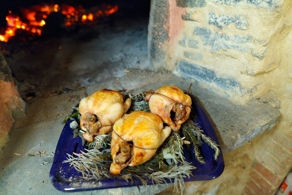 Chicken roasted on a bed of sage, rosemary, and lavender