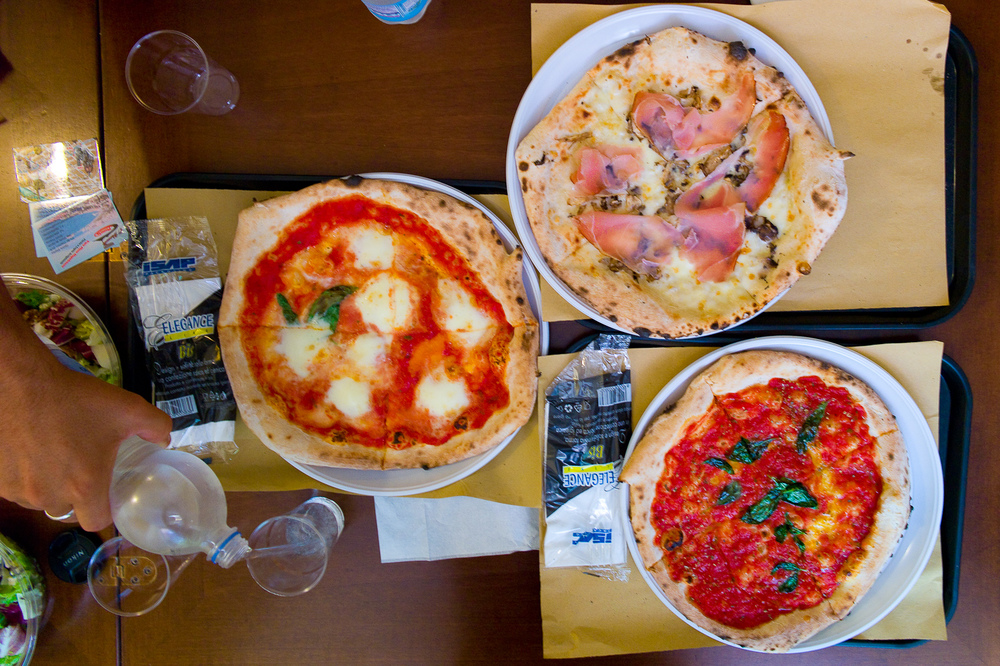 Pizza margherita, pizza marinara, pizza with speck and tomato