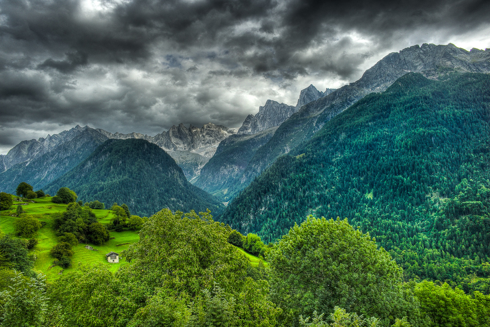 View of the Alps from Soglio, Switzerland