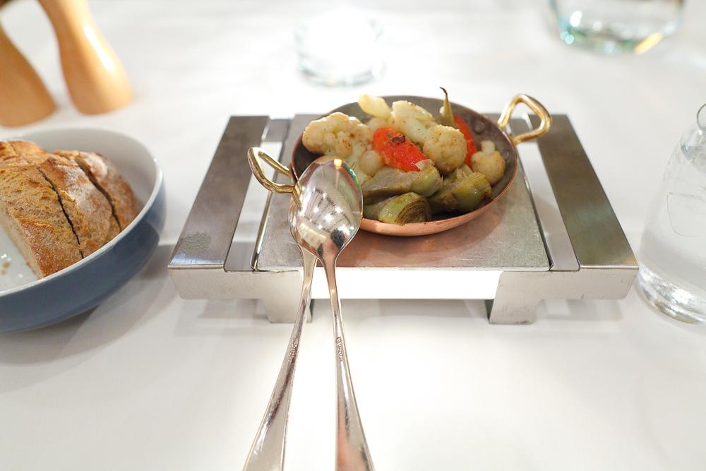 Baby artichokes, cauliflower, carrot