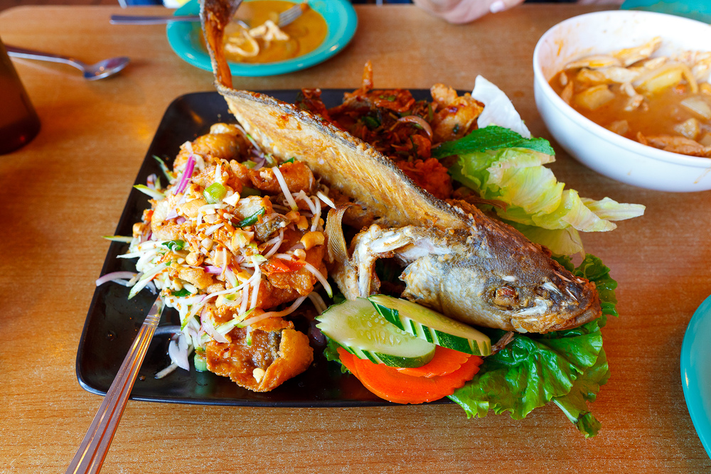Deep fried sea bass - chilli, lime ($25)