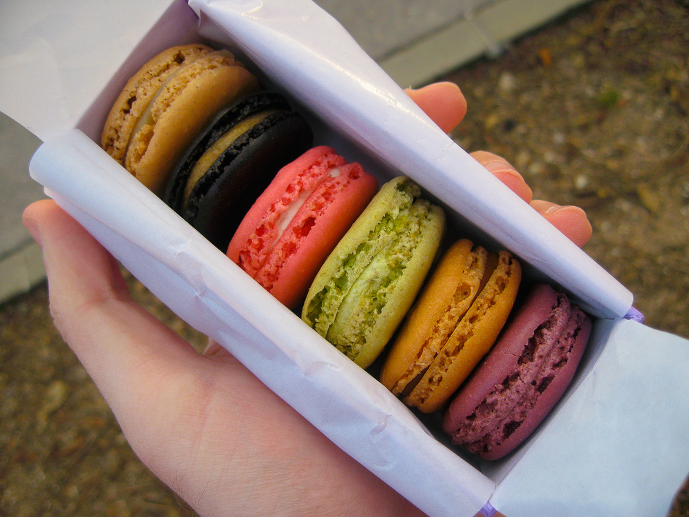 Laduree small box: black current, caramel, pistachio, rose, licorice, vanilla