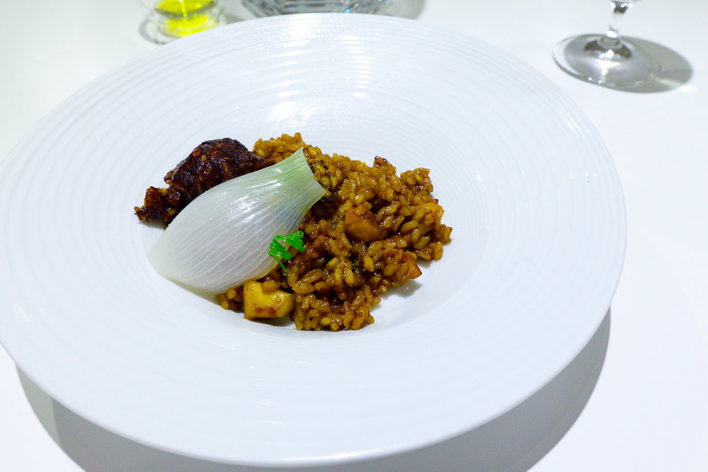 6th Course: Arroz con mariscos, octopus, squid, wreckfish, and saffron