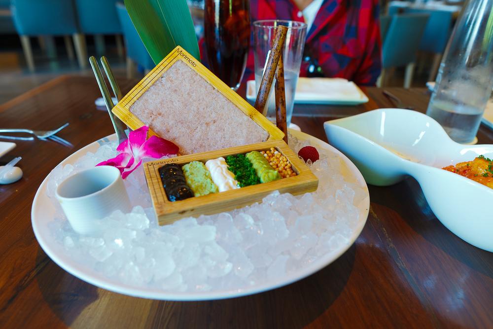 Hamachi tartare - wasabi, nori paste, sour cream ($23)