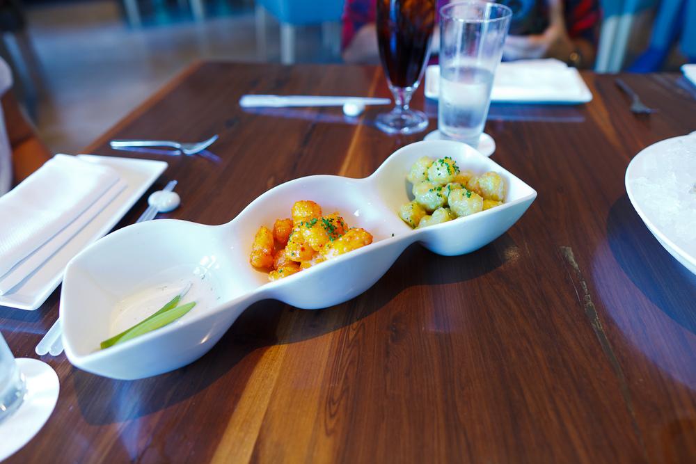 Rock shrimp tempura - spicy kochujan sauce, wasabi aïoli ($16)
