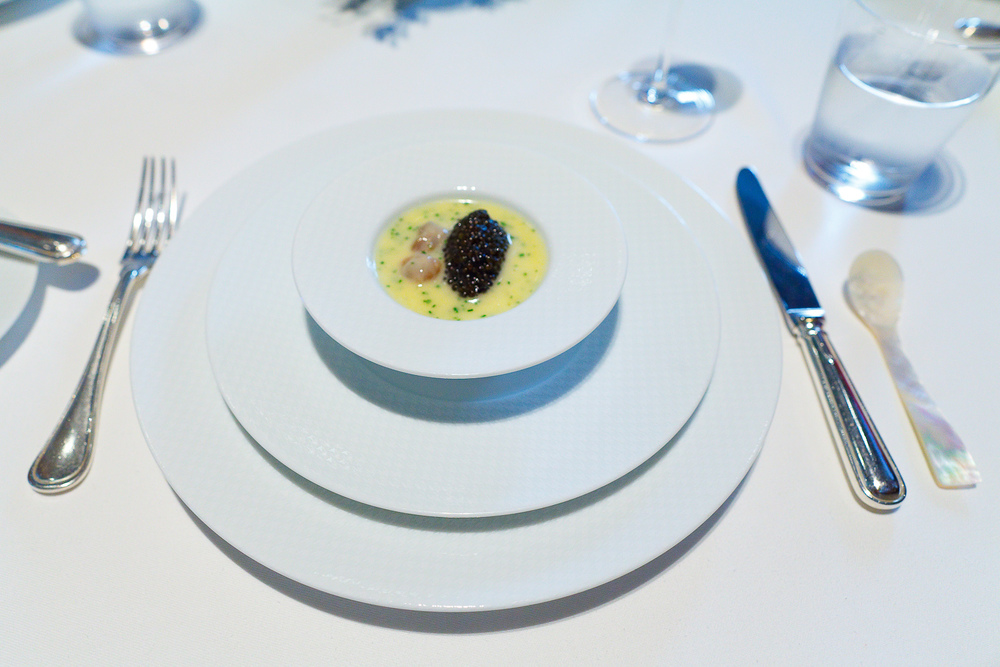 "1st Course: ""Oysters and Pearls"" - ""Sabayon"" of Pearl Tapioca with Island Creek Oysters and White Sturgeon Caviar"