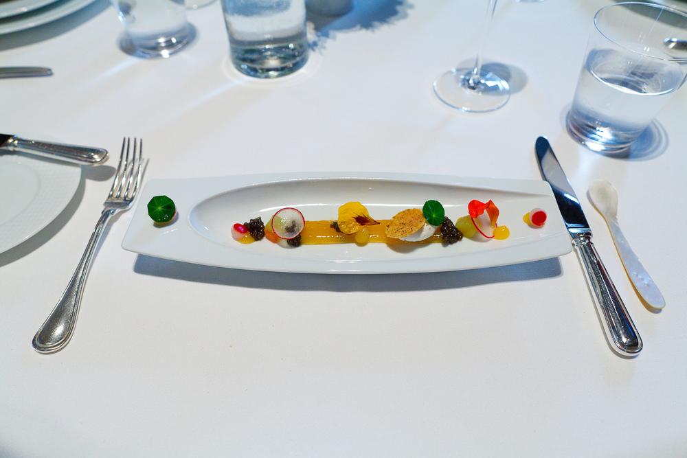 2nd Course: Royal Ossetra Caviar, Compressed Summer Melon, Nasturtium and Black Pepper Crème Fraîche
