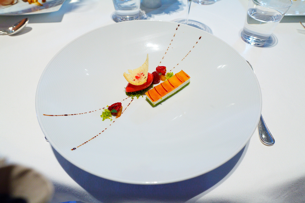 "10th Course: ""Nectarine Melba,"" Sicilian Pistachio ""Pain de Gênes,"" Andante Dairy Yogurt, ""Biscotti,"" and Raspberry Sorbet"
