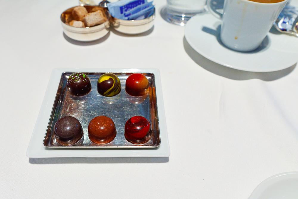 Mignardises: Chocolates - (clockwise) Olive Oil, Meyer Lemon, Peanut Butter and Jelly, Michigan Cherry, Hazelnut, Ginger