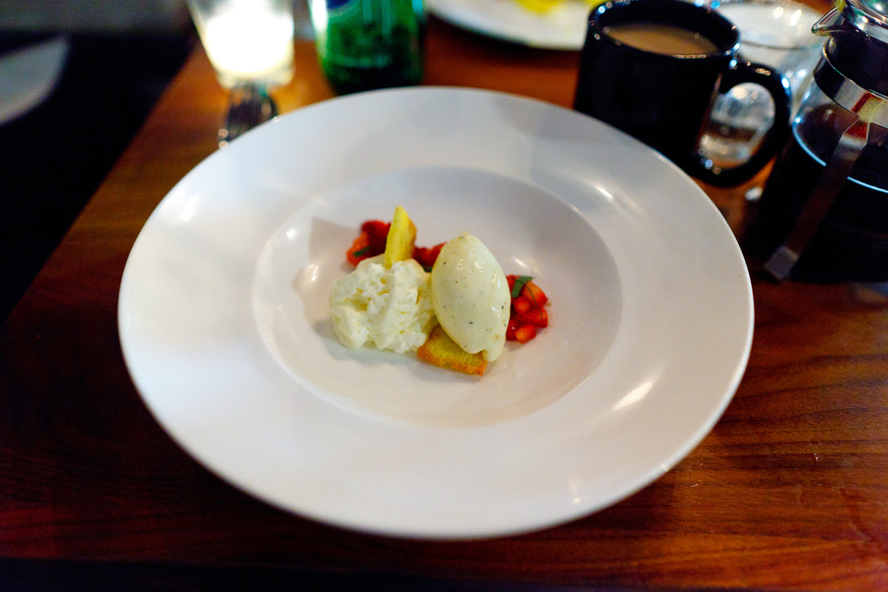 Strawberries, long pepper ice cream, ricotta