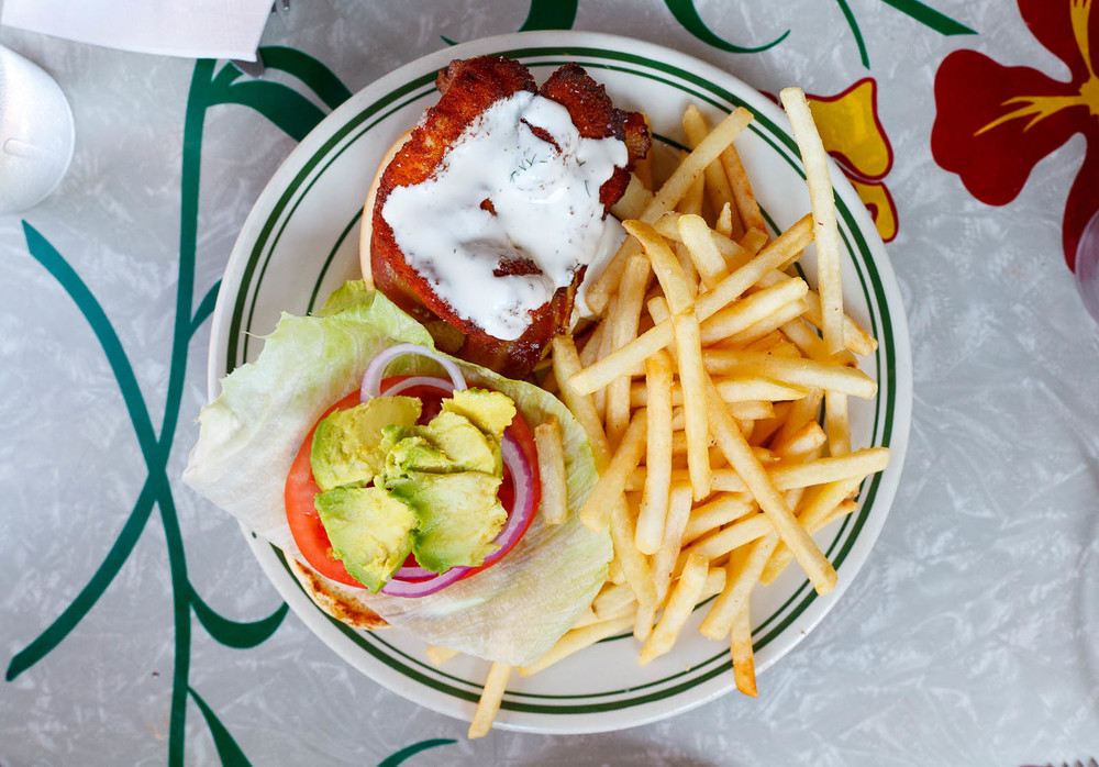 Chicken Sammy w/ fries, avocado, bacon, jack cheese, ranch, lettuce, tomato, onion ($10)