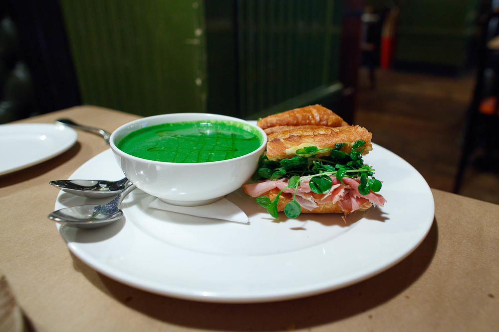 Ham and cheese sandwich with pea soup ($16