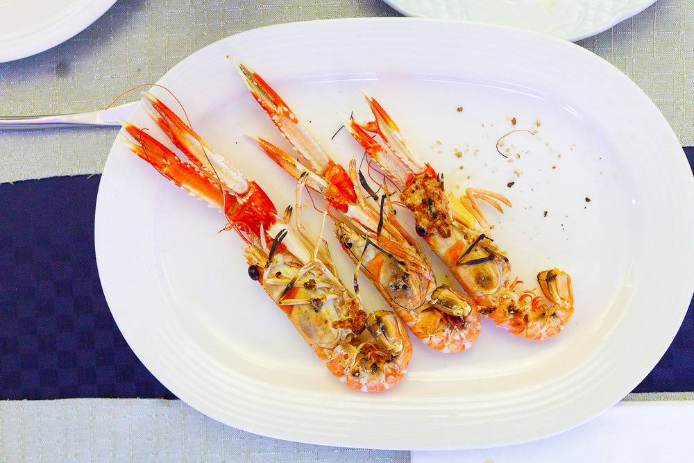 Local langoustines a la plancha
