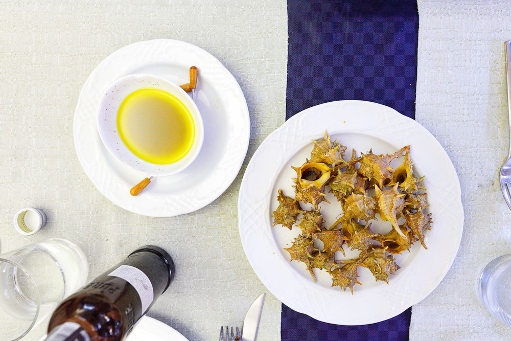 Caracoles (local whelks) with olive oil, salt, and pepper vinaigrette