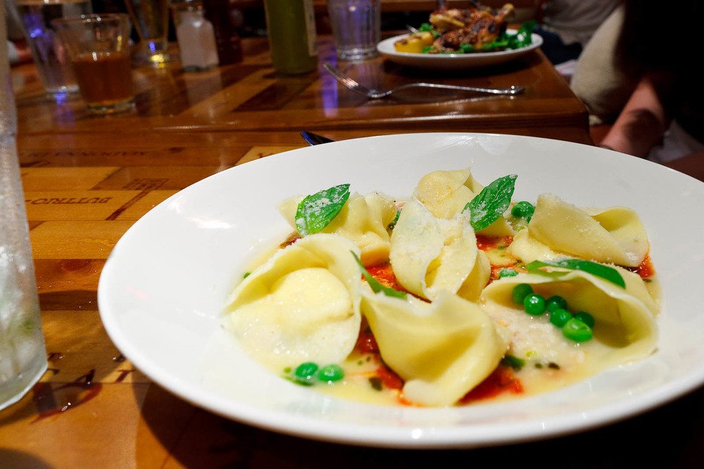 Tortelloni de ricotta - little hats of ricotta, tomato basil sauce, parmesan ($19)