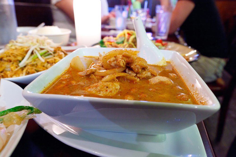 Massaman curry with chicken, onion, potato, and peanut in coconut milk ($9)
